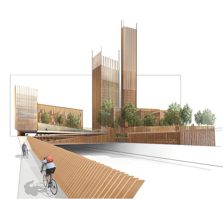 L'utilizzo del legno permetterà di risparmiare circa 3700 tonnellate di anidride carbonica rispetto al cemento armato